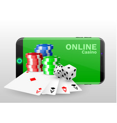 online casino concept playing cards dice chips vector image