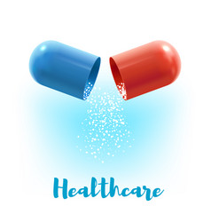 Open capsule pill 3d poster for medicine design vector