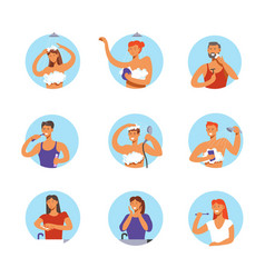 people hygiene procedures cartoon icons vector image