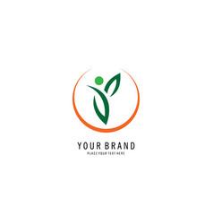 People leaf logo vector