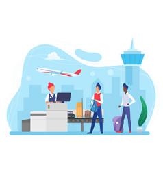 people passengers and luggage conveyor belt vector image