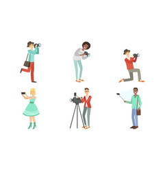 people with cameras and smartphones set vector image
