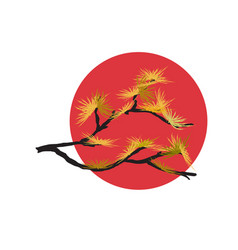 pine branch and red sun vector image