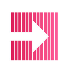 Pink arrow on striped backdrop flat design long vector