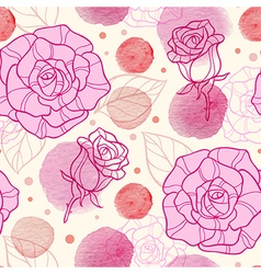 Pink watercolor blots and roses vector