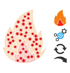 Polygonal mesh fire pictograph with covid19 nodes vector