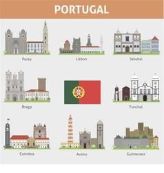 Portugal symbols cities vector