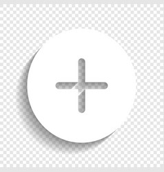 Positive symbol plus sign white icon with vector