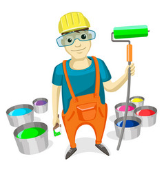 professional painter with paint brush roller vector image