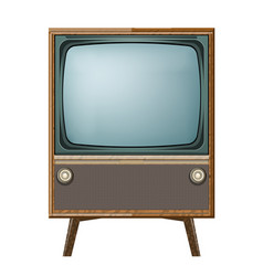 retro old vintage television on white background vector image