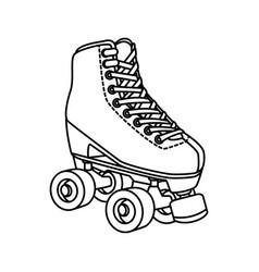 Roller skate nineties line style icon vector
