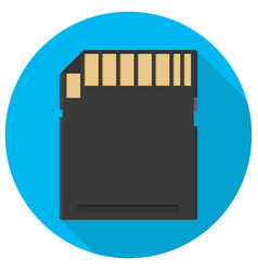 sd card icon flat in circle vector image