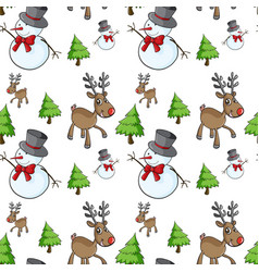 Seamless background with snowman and reindeer vector
