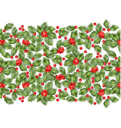 seamless border from christmas holly berry eps 10 vector image