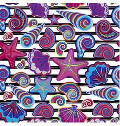 Seamless pattern of seashells on striped vector