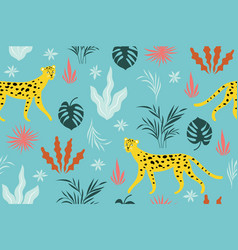 seamless pattern witn leopards on a blue vector image