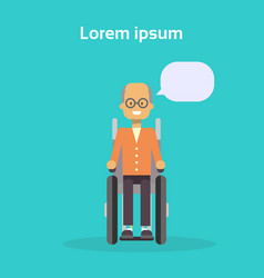 Senior man on wheel chair happy old male disabled vector