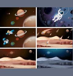 Set different planet scenes vector