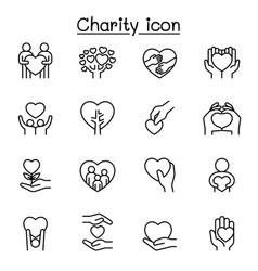 set donation charity related line icons vector image
