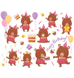 set of happy girl bear in different actions vector image