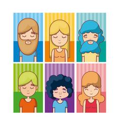 set of hippie avatar vector image