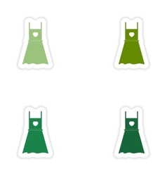 Set of paper stickers on white background summer vector