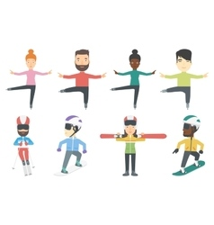 Set of winter sport characters vector