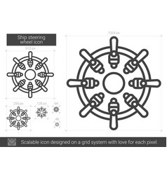 Ship steering wheel line icon vector