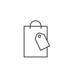 shopping paper bag line icon simple modern flat vector image