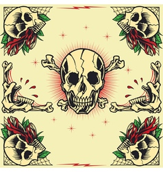 Skull and Rose Frames vector image