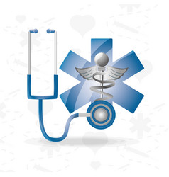 stethoscope with medical symbol to save lifes vector image