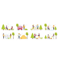 summer camping with people characters vector image