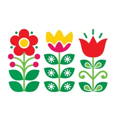 Swedish floral retro pattern traditional folk art vector