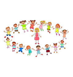 teacher and young children vector image