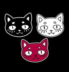 three different colors cat heads vector image