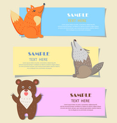 Three forest predatory animals on alphabet images vector