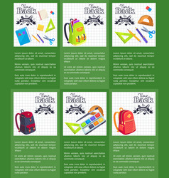 time back to school posters with schoolbags books vector image