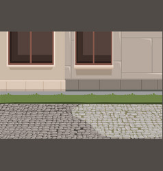 Town building exterior and pavement background vector