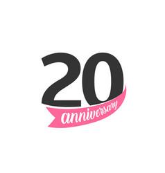 twentieth anniversary logo number 20 vector image