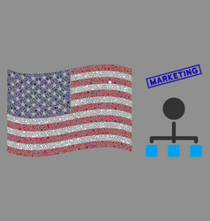 United states flag mosaic hierarchy and vector