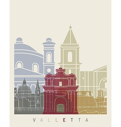 Valletta skyline poster vector image