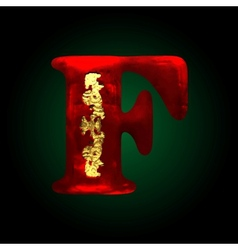 Velvet f letter with gold vector