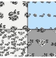 Vintage black and white rose patterns vector