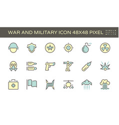 War and military icon set 48x48 pixel perfect vector