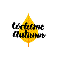 Welcome autumn lettering vector