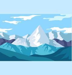 Winter landscape mountains view snowy rocks vector