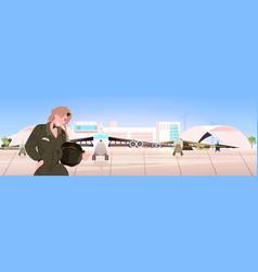woman pilot in uniform holding helmet airport vector image