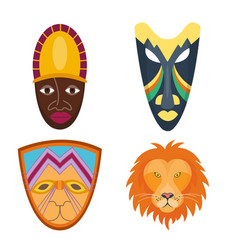 wooden painted african mask craft avatar vector image