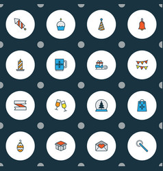 year icons colored line set with fireworks vector image
