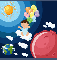 baby boy dreams to fly to mars on clouds and vector image